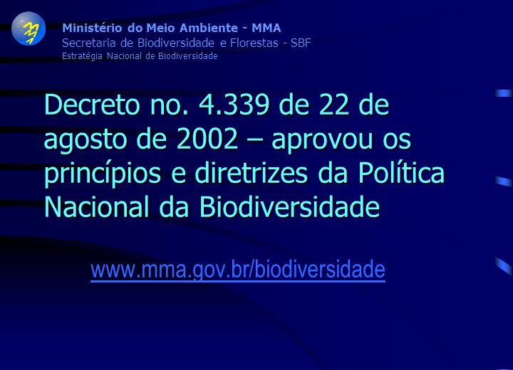 Ministério do Meio Ambiente - MMA Moção do Conselho Nacional do Meio Ambiente – CONAMA, de 5 de julho de 2002 – endossou a proposta da Política Nacion