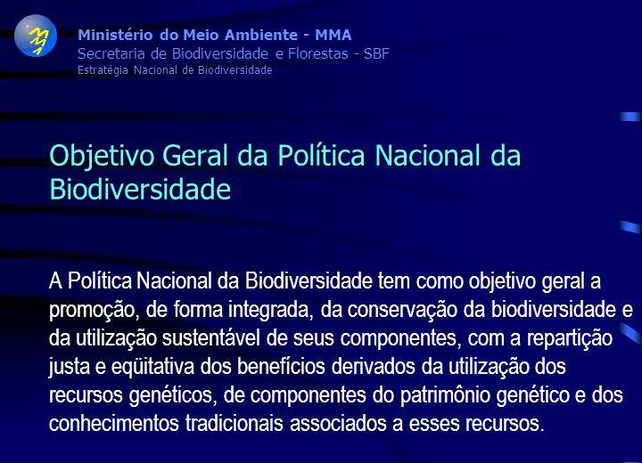 Ministério do Meio Ambiente - MMA Secretaria de Biodiversidade e Florestas - SBF Estratégia Nacional de Biodiversidade Decreto no. 4.339 de 22 de agos