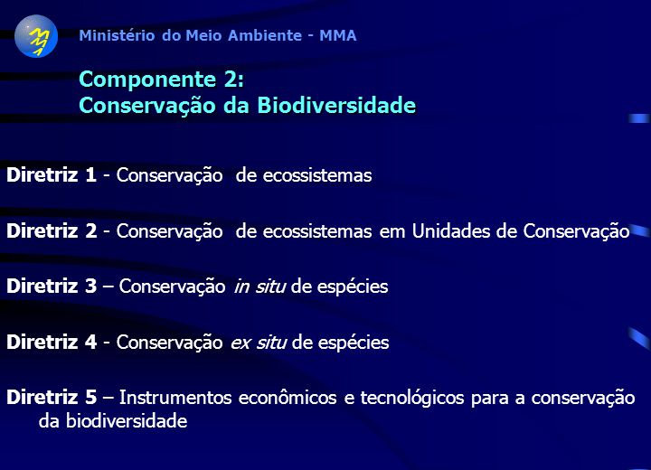 Ministério do Meio Ambiente - MMA Componente 1: Conhecimento da Biodiversidade Diretriz 1- Inventário e caracterização da biodiversidade Diretriz 2 –