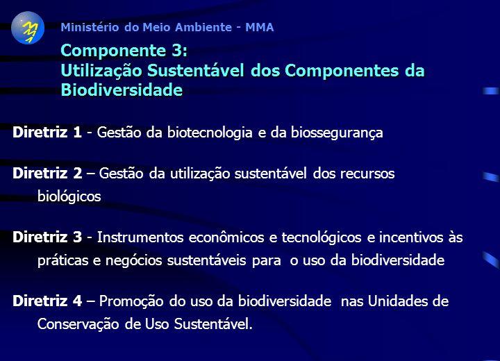 Ministério do Meio Ambiente - MMA Componente 2: Conservação da Biodiversidade Diretriz 1 - Conservação de ecossistemas Diretriz 2 - Conservação de eco