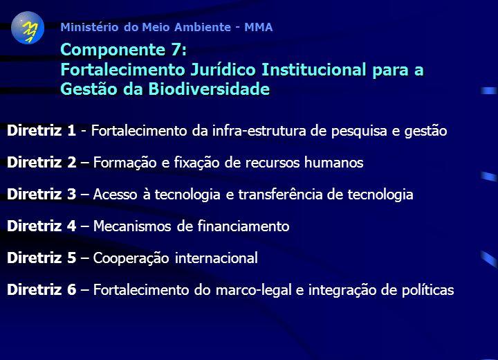Ministério do Meio Ambiente - MMA Componente 6: Educação, Sensibilização Pública, Informação e Divulgação sobre Biodiversidade Diretriz 1 - Sistemas d