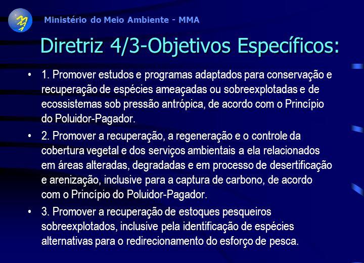 Ministério do Meio Ambiente - MMA Componente 4/Terceira diretriz: Recuperação de ecossistemas degradados e dos componentes da biodiversidade sobreexpl