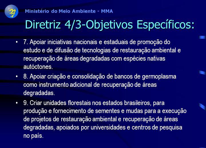 Ministério do Meio Ambiente - MMA Diretriz 4/3-Objetivos Específicos: 4. Estimular as pesquisas paleoecológicas como estratégicas para a recuperação d