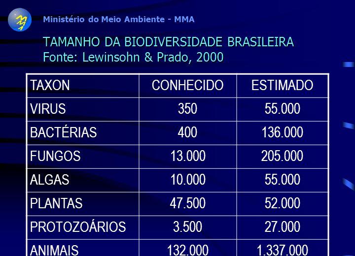 Ministério do Meio Ambiente - MMA TAMANHO DA BIODIVERSIDADE BRASILEIRA Fonte: Lewinsohn & Prado, 2000 TAXONCONHECIDOESTIMADO VIRUS35055.000 BACTÉRIAS400136.000 FUNGOS13.000205.000 ALGAS10.00055.000 PLANTAS47.50052.000 PROTOZOÁRIOS3.50027.000 ANIMAIS132.0001.337.000 TOTAL207.0001.867.000