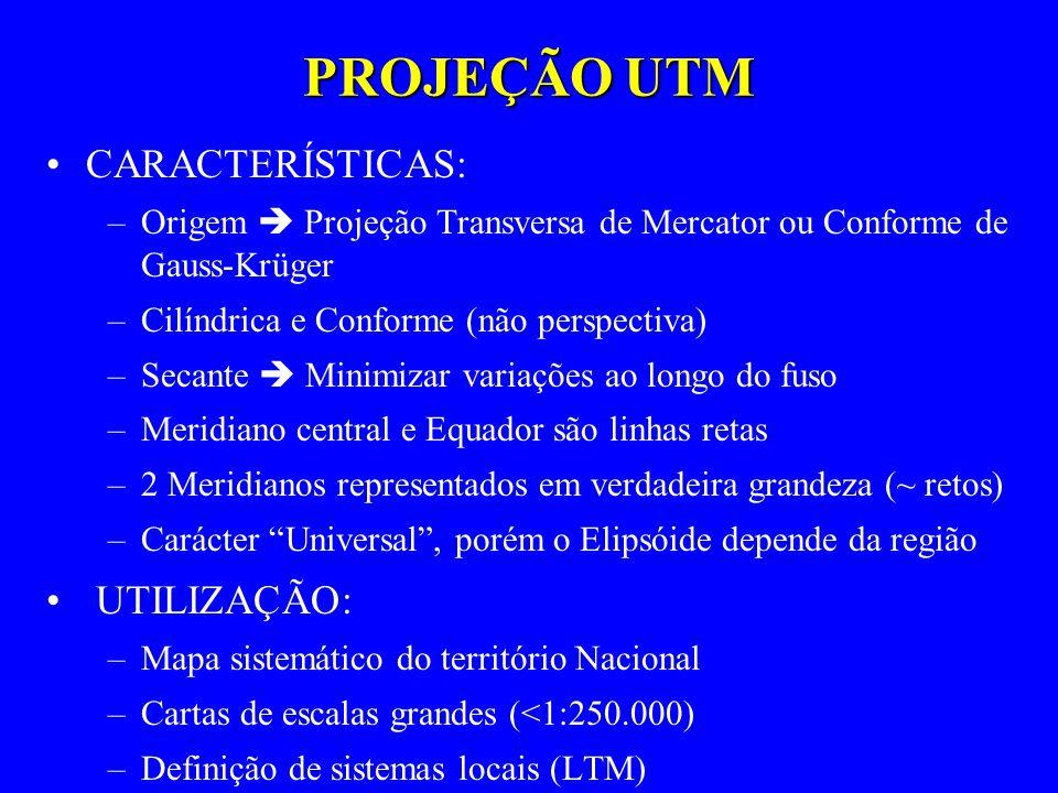 PROJEÇÃO UTM CARACTERÍSTICAS: –Origem Projeção Transversa de Mercator ou Conforme de Gauss-Krüger –Cilíndrica e Conforme (não perspectiva) –Secante Mi