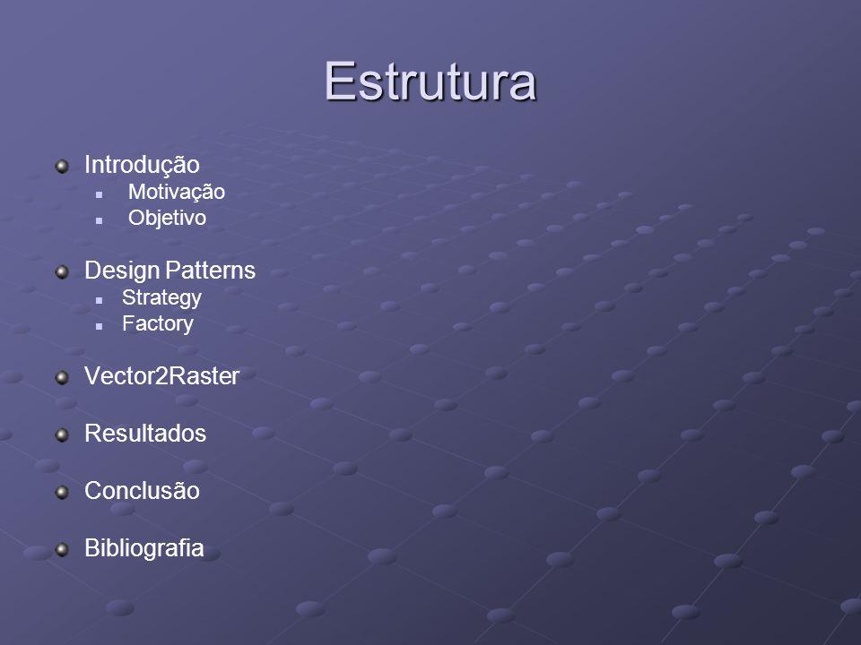 Estrutura Introdução Motivação Objetivo Design Patterns Strategy Factory Vector2Raster Resultados Conclusão Bibliografia