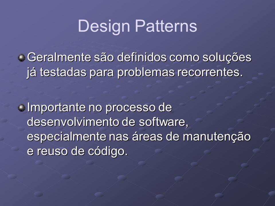 Design Patterns Geralmente são definidos como soluções já testadas para problemas recorrentes.