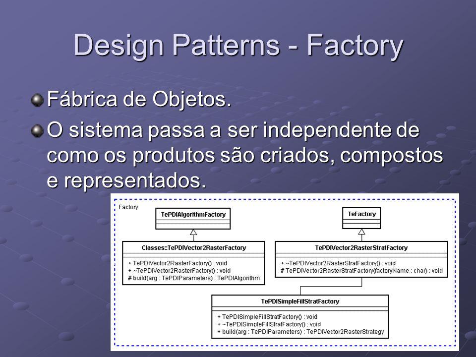 Design Patterns - Factory Fábrica de Objetos. O sistema passa a ser independente de como os produtos são criados, compostos e representados.