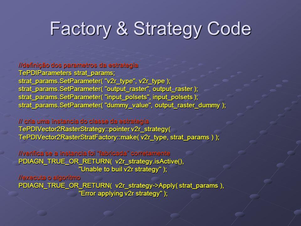 //definição dos parametros da estrategia TePDIParameters strat_params; strat_params.SetParameter( v2r_type , v2r_type ); strat_params.SetParameter( output_raster , output_raster ); strat_params.SetParameter( input_polsets , input_polsets ); strat_params.SetParameter( dummy_value , output_raster_dummy ); // cria uma instancia do classe da estrategia TePDIVector2RasterStrategy::pointer v2r_strategy( TePDIVector2RasterStratFactory::make( v2r_type, strat_params ) ); //verifica se a instancia foi fabricada corretamente PDIAGN_TRUE_OR_RETURN( v2r_strategy.isActive(), Unable to buil v2r strategy ); //executa o algoritmo PDIAGN_TRUE_OR_RETURN( v2r_strategy->Apply( strat_params ), Error applying v2r strategy ); Factory & Strategy Code