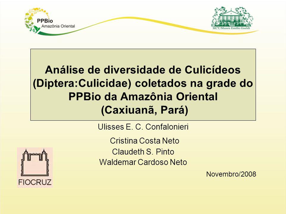 Análise de diversidade de Culicídeos (Diptera:Culicidae) coletados na grade do PPBio da Amazônia Oriental (Caxiuanã, Pará) Ulisses E. C. Confalonieri