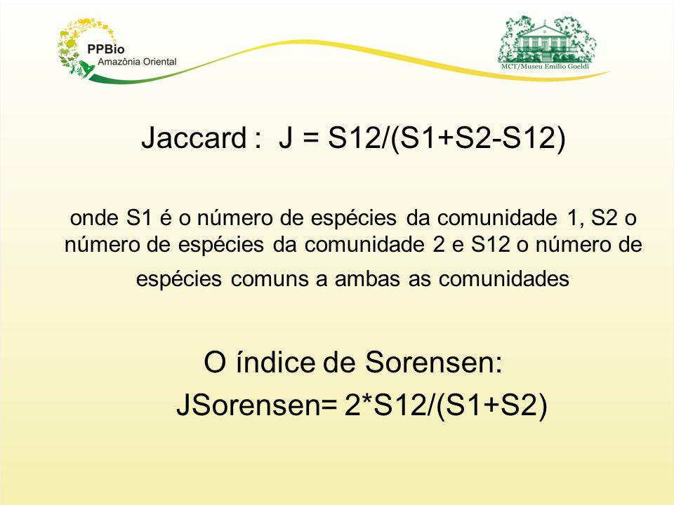 Jaccard : J = S12/(S1+S2-S12) onde S1 é o número de espécies da comunidade 1, S2 o número de espécies da comunidade 2 e S12 o número de espécies comuns a ambas as comunidades O índice de Sorensen: JSorensen= 2*S12/(S1+S2)