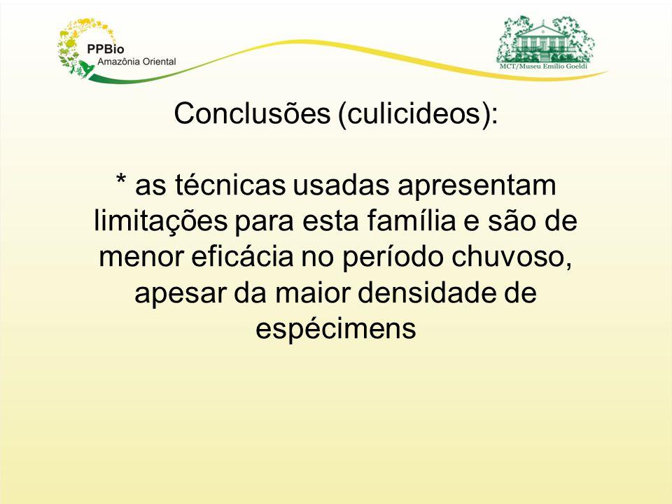 Conclusões (culicideos): * as técnicas usadas apresentam limitações para esta família e são de menor eficácia no período chuvoso, apesar da maior densidade de espécimens