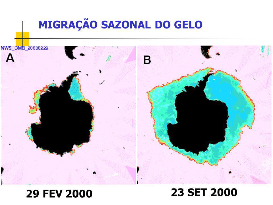 MIGRAÇÃO SAZONAL DO GELO 29 FEV 2000 23 SET 2000