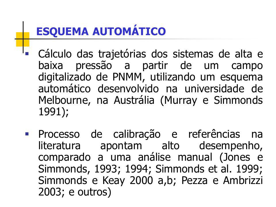 Cálculo das trajetórias dos sistemas de alta e baixa pressão a partir de um campo digitalizado de PNMM, utilizando um esquema automático desenvolvido na universidade de Melbourne, na Austrália (Murray e Simmonds 1991); Processo de calibração e referências na literatura apontam alto desempenho, comparado a uma análise manual (Jones e Simmonds, 1993; 1994; Simmonds et al.
