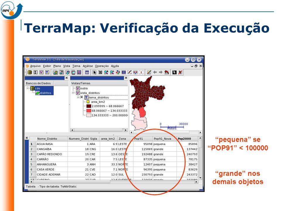 TerraMap: Verificação da Execução pequena se POP91 < 100000 grande nos demais objetos