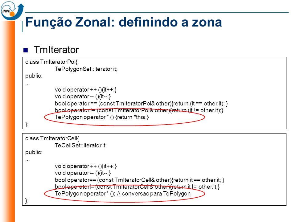 TmIterator Função Zonal: definindo a zona class TmIteratorPol{ TePolygonSet::iterator it; public:... void operator ++ (){it++;} void operator -- (){it