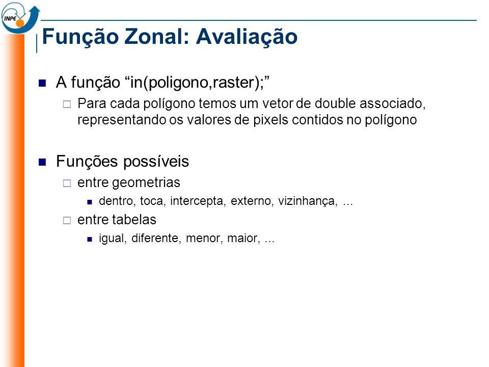 Função Zonal: Avaliação A função in(poligono,raster); Para cada polígono temos um vetor de double associado, representando os valores de pixels contidos no polígono Funções possíveis entre geometrias dentro, toca, intercepta, externo, vizinhança,...