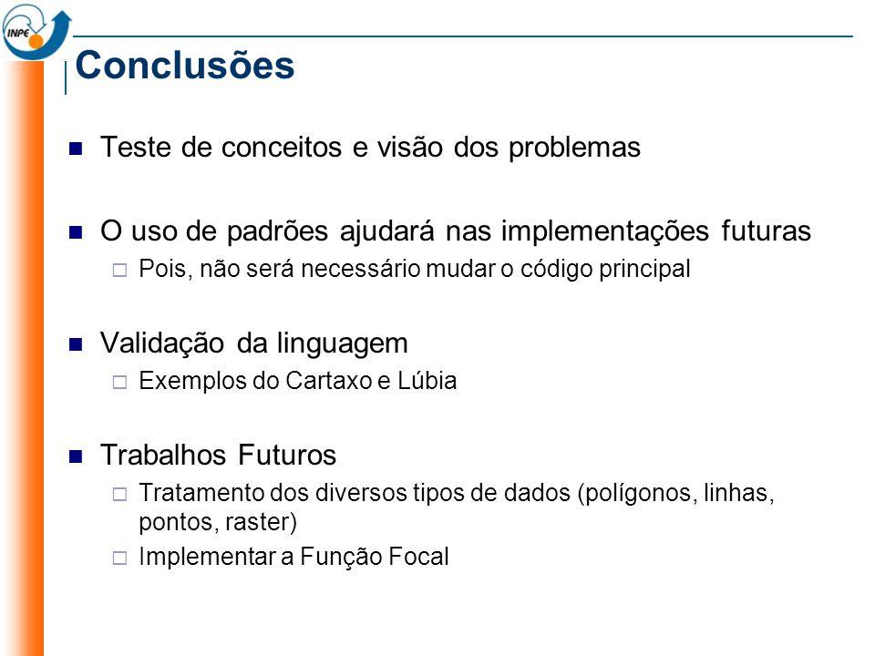 Conclusões Teste de conceitos e visão dos problemas O uso de padrões ajudará nas implementações futuras Pois, não será necessário mudar o código princ