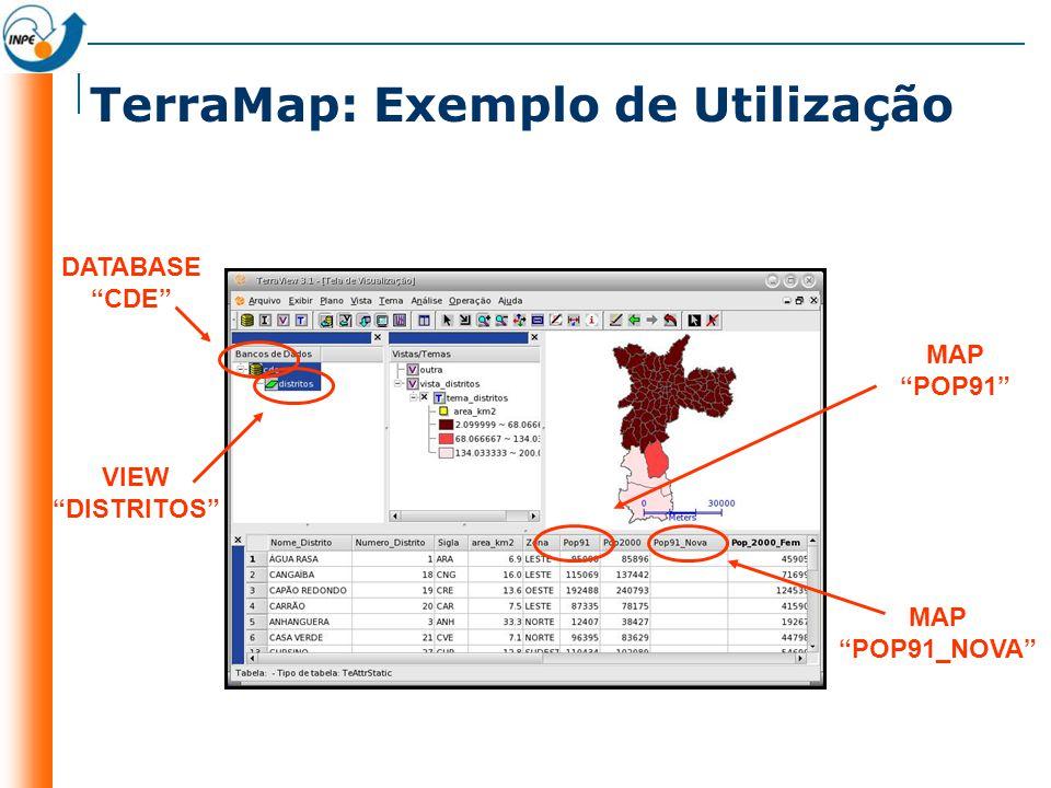 preencher um mapa de polígonos com a média dos pixels de uma imagem e fazer a sua classificação TerraMap ZONALFUNCTION contido (raster,poligono){ 1 : in(poligono,raster); } FUNCTION media(raster, poligono){ average(contido(raster, poligono)) : otherwise; } mediapixels = media(raster, poligono); LOCALFUNCTION classifica(valor){ baixo : valor <= 60, medio : valor > 60 && valor <= 65, alto : OTHERWISE }; classepixels = classifica(media_attrib); avaliação uso Chamada e atribuição Operação Zonal