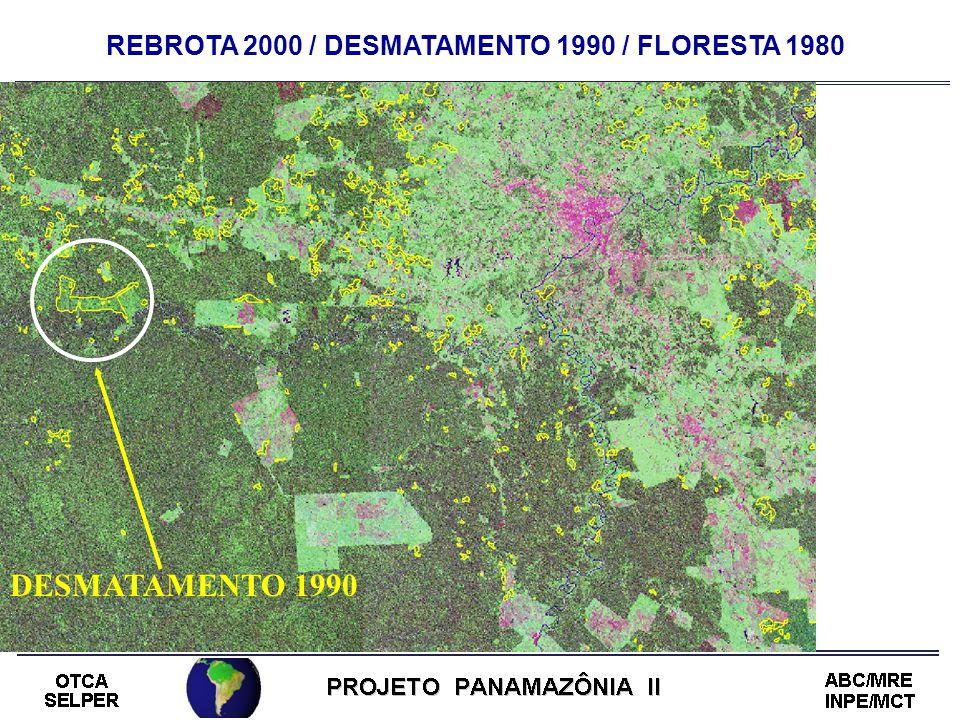 REBROTA 2000 / DESMATAMENTO 1990 / FLORESTA 1980 DESMATAMENTO 1990