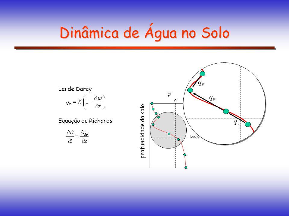 Dinâmica de Água no Solo profundidade do solo 0 lençol freático Lei de Darcy Equação de Richards qvqv qvqv qvqv
