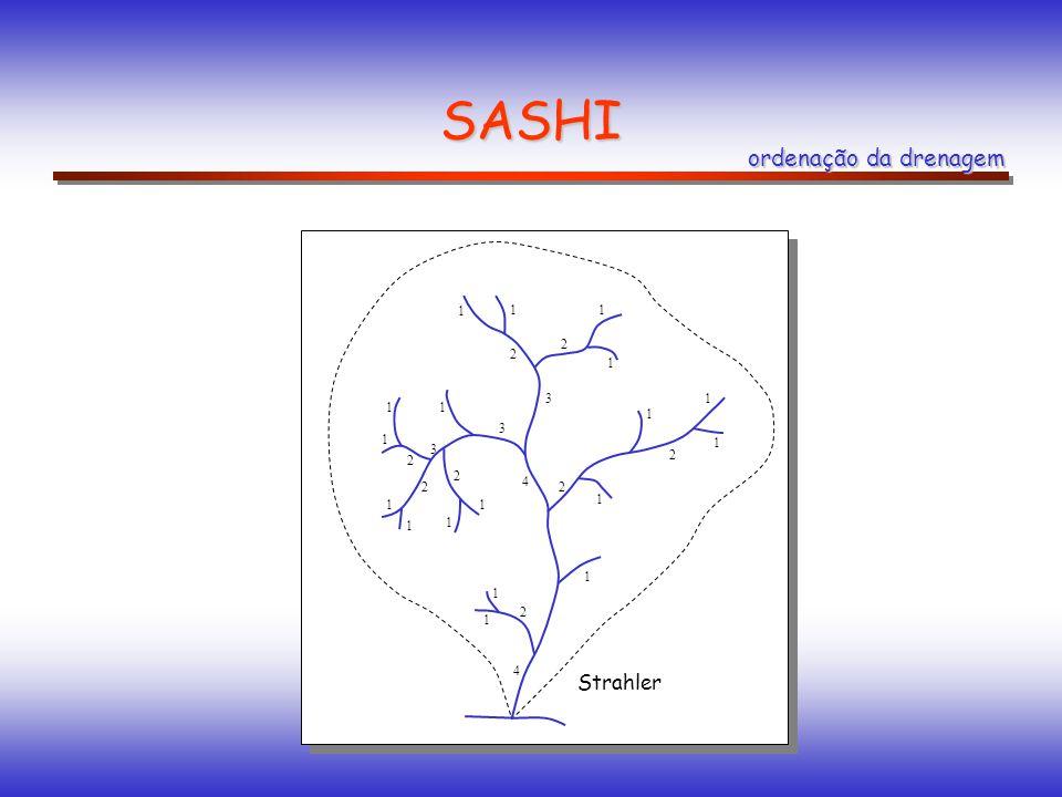 SASHI 1 11 1 1 1 1 1 1 1 1 1 1 1 1 1 11 3 3 3 4 4 2 2 2 2 2 2 2 2 Strahler ordenação da drenagem