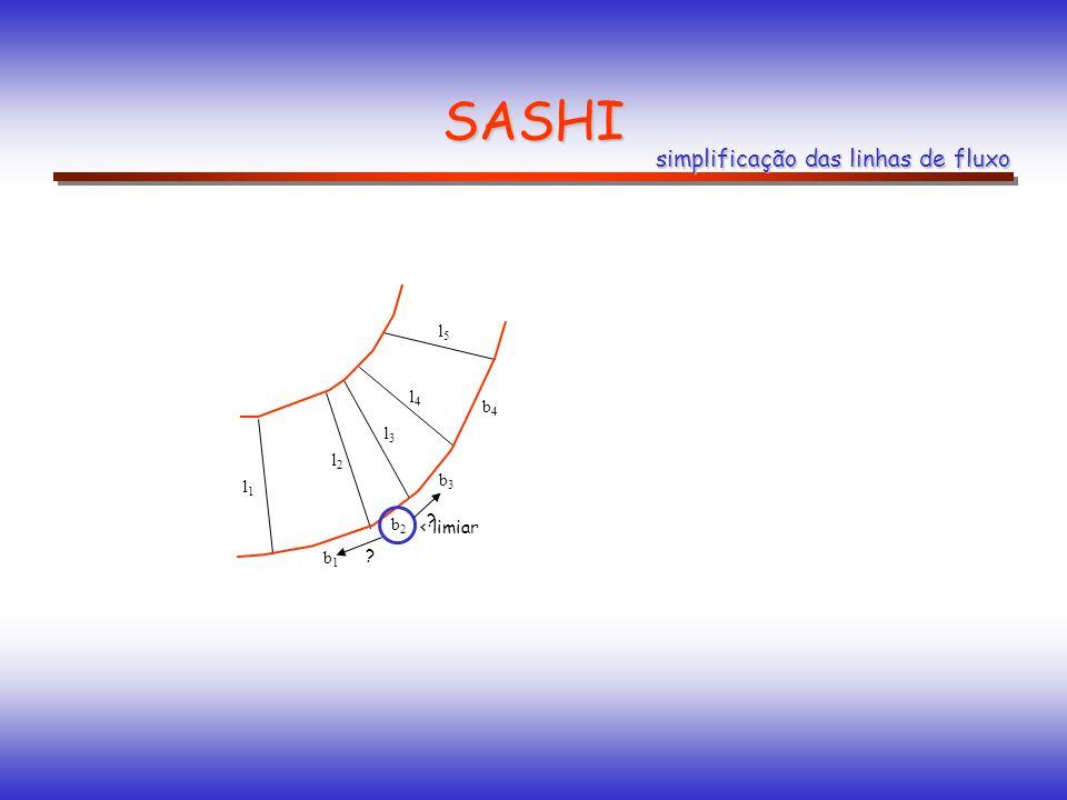 SASHI simplificação das linhas de fluxo b1b1 b2b2 b3b3 b4b4 l1l1 l2l2 l3l3 l4l4 l5l5 ? ? < limiar