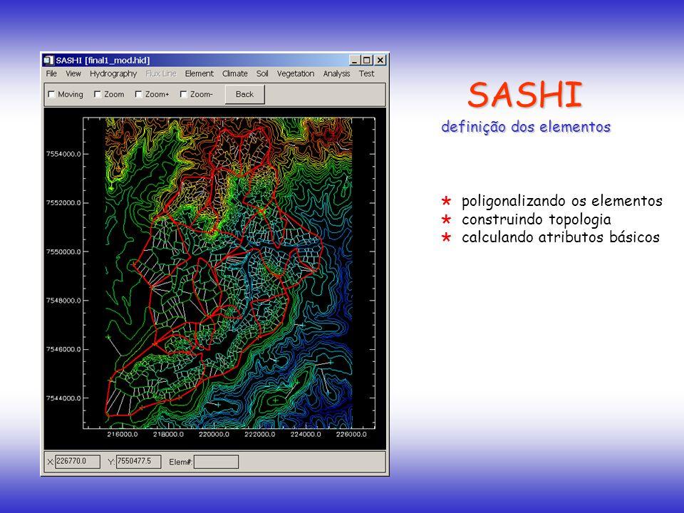 SASHI definição dos elementos construindo topologia calculando atributos básicos poligonalizando os elementos