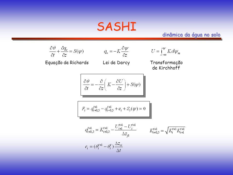 SASHI dinâmica da água no solo Equação de Richards Transformação de Kirchhoff Lei de Darcy