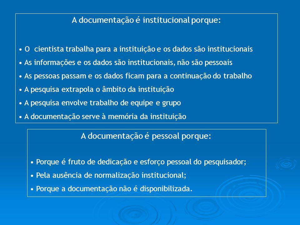 A documentação é pessoal porque: Porque é fruto de dedicação e esforço pessoal do pesquisador; Pela ausência de normalização institucional; Porque a d