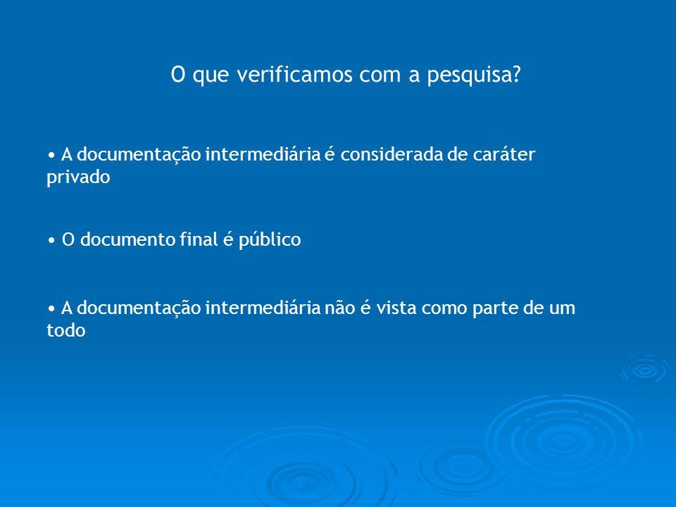 O que verificamos com a pesquisa? A documentação intermediária é considerada de caráter privado O documento final é público A documentação intermediár