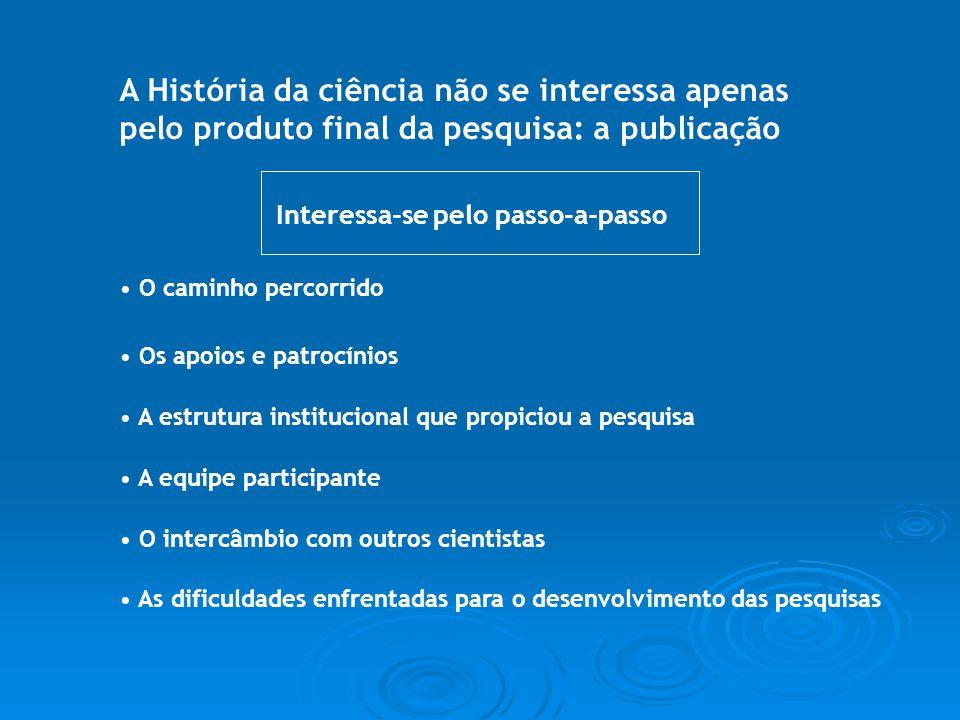 A História da ciência não se interessa apenas pelo produto final da pesquisa: a publicação O caminho percorrido Os apoios e patrocínios A estrutura in