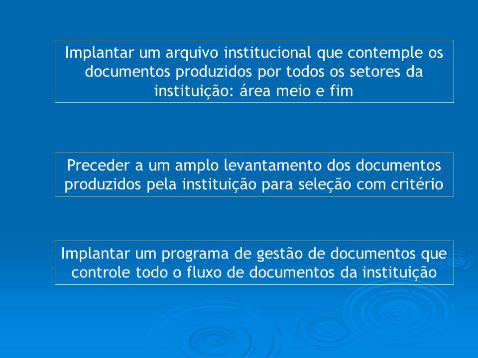 Implantar um arquivo institucional que contemple os documentos produzidos por todos os setores da instituição: área meio e fim Preceder a um amplo lev