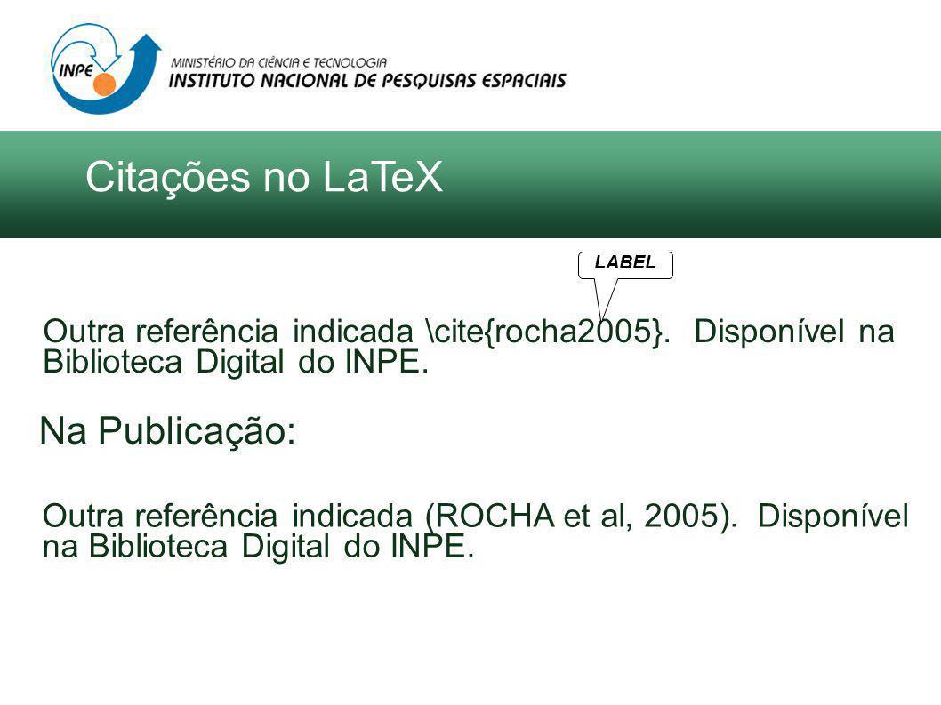 Outra referência indicada \cite{rocha2005}. Disponível na Biblioteca Digital do INPE.