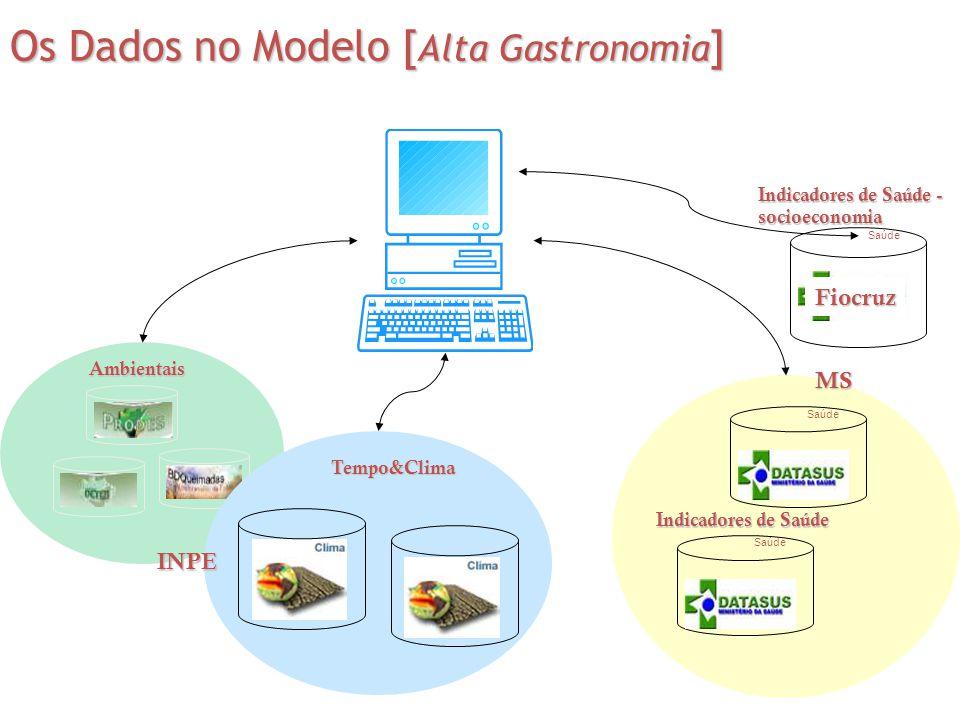 Os Dados no Modelo [ Alta Gastronomia ] Saúde INPE Fiocruz MS Ambientais Tempo&Clima Indicadores de Saúde Indicadores de Saúde - socioeconomia