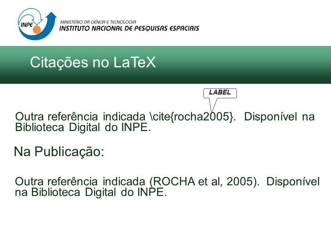 Outra referência indicada \cite{rocha2005}. Disponível na Biblioteca Digital do INPE. LABEL Outra referência indicada (ROCHA et al, 2005). Disponível
