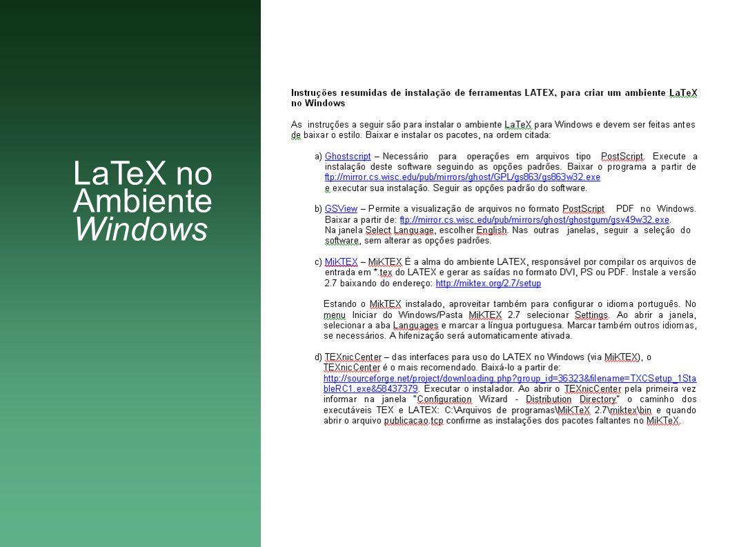 LaTeX no Ambiente Windows
