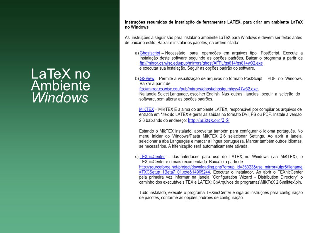 LaTeX no Ambiente Windows