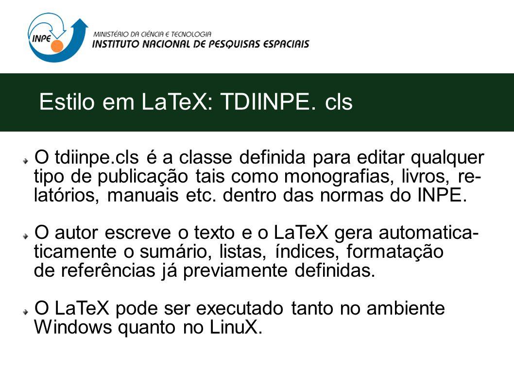 O tdiinpe.cls é a classe definida para editar qualquer tipo de publicação tais como monografias, livros, re- latórios, manuais etc.