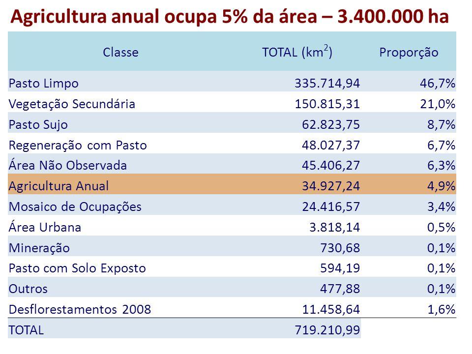 ClasseTOTAL (km 2 )Proporção Pasto Limpo 335.714,9446,7% Vegetação Secundária 150.815,3121,0% Pasto Sujo 62.823,758,7% Regeneração com Pasto 48.027,376,7% Área Não Observada 45.406,276,3% Agricultura Anual 34.927,244,9% Mosaico de Ocupações 24.416,573,4% Área Urbana 3.818,140,5% Mineração 730,680,1% Pasto com Solo Exposto 594,190,1% Outros 477,880,1% Desflorestamentos 2008 11.458,641,6% TOTAL 719.210,99 Agricultura anual ocupa 5% da área – 3.400.000 ha