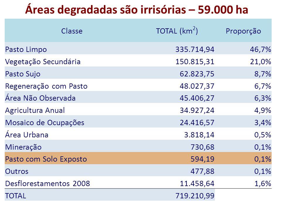 ClasseTOTAL (km 2 )Proporção Pasto Limpo 335.714,9446,7% Vegetação Secundária 150.815,3121,0% Pasto Sujo 62.823,758,7% Regeneração com Pasto 48.027,376,7% Área Não Observada 45.406,276,3% Agricultura Anual 34.927,244,9% Mosaico de Ocupações 24.416,573,4% Área Urbana 3.818,140,5% Mineração 730,680,1% Pasto com Solo Exposto 594,190,1% Outros 477,880,1% Desflorestamentos 2008 11.458,641,6% TOTAL 719.210,99 Áreas degradadas são irrisórias – 59.000 ha