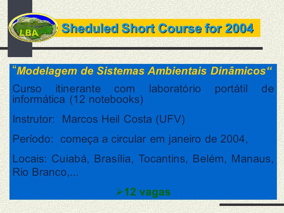 Sheduled Short Course for 2004 Modelagem de Sistemas Ambientais Dinâmicos Curso itinerante com laboratório portátil de informática (12 notebooks) Inst