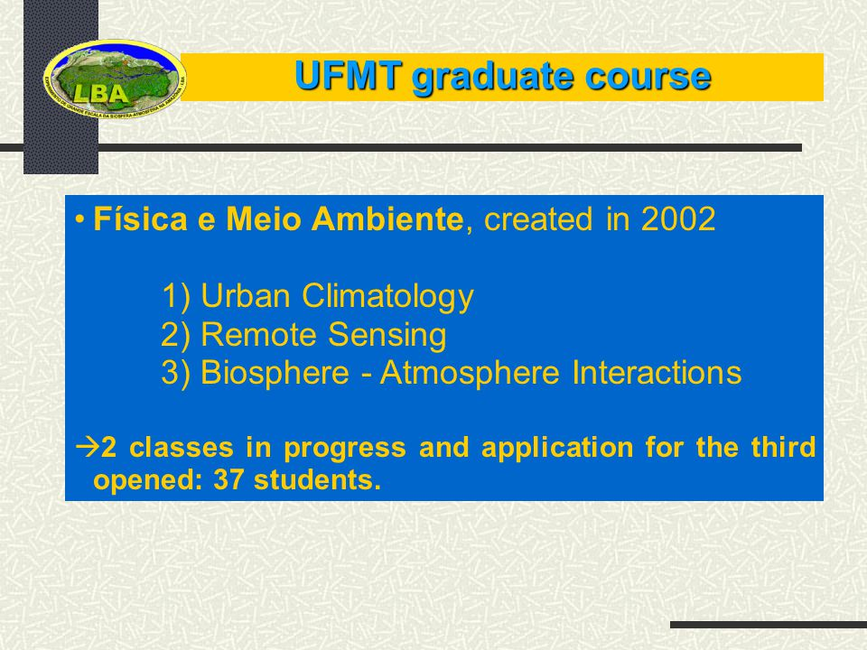 UFMT graduate course Física e Meio Ambiente, created in 2002 1) Urban Climatology 2) Remote Sensing 3) Biosphere - Atmosphere Interactions 2 classes in progress and application for the third opened: 37 students.
