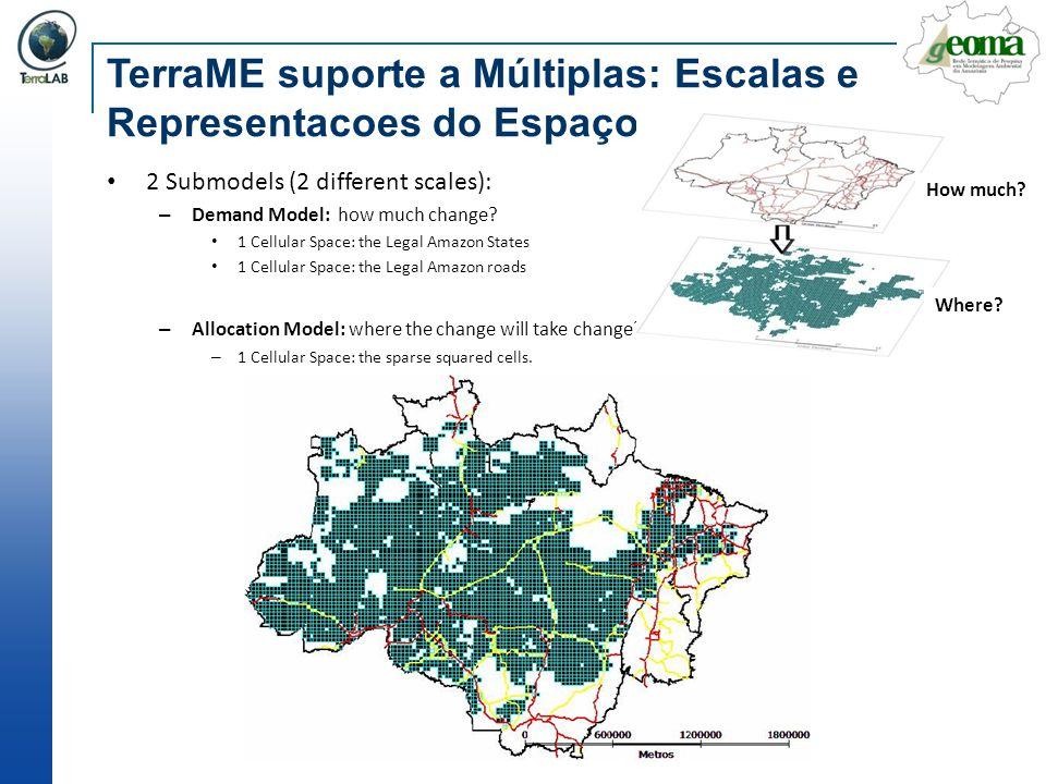 TerraME suporte a Múltiplas: Escalas e Representacoes do Espaço 2 Submodels (2 different scales): – Demand Model: how much change? 1 Cellular Space: t