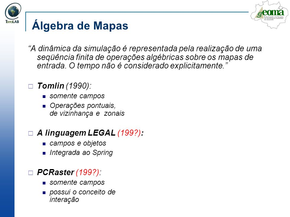 Álgebra de Mapas A dinâmica da simulação é representada pela realização de uma seqüência finita de operações algébricas sobre os mapas de entrada. O t