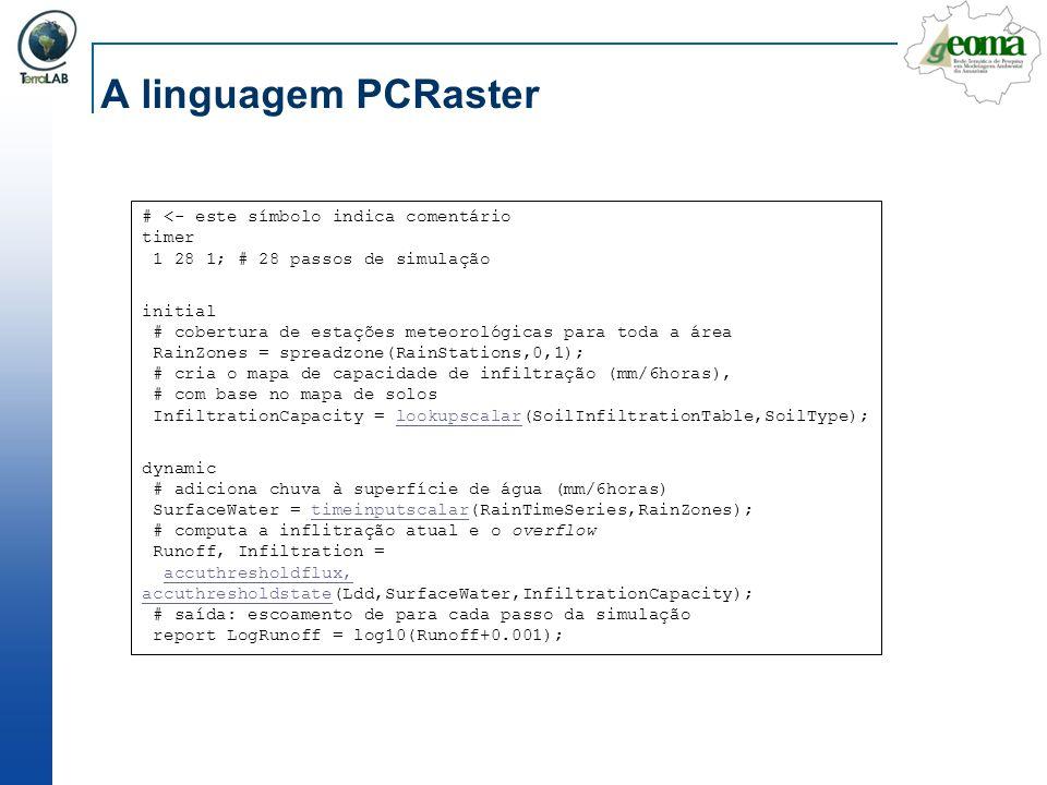 A linguagem PCRaster # <- este símbolo indica comentário timer 1 28 1; # 28 passos de simulação initial # cobertura de estações meteorológicas para to