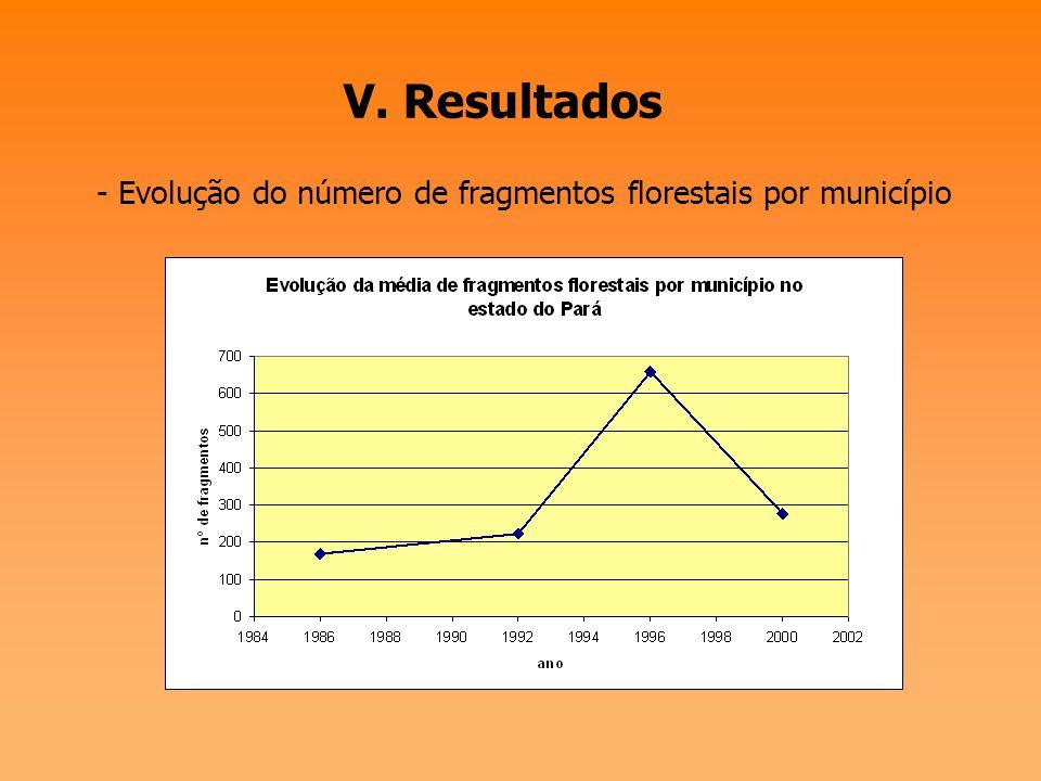 V. Resultados - Evolução do número de fragmentos florestais no Estado