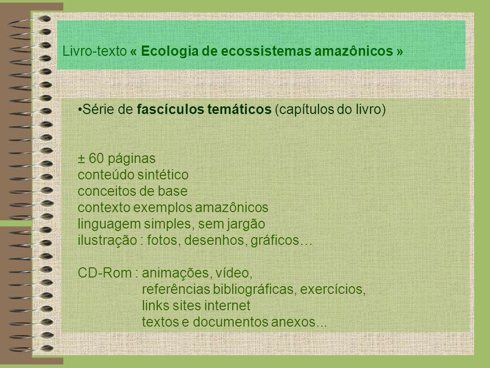 Livro-texto « Ecologia de ecossistemas amazônicos » Série de fascículos temáticos (capítulos do livro) ± 60 páginas conteúdo sintético conceitos de ba