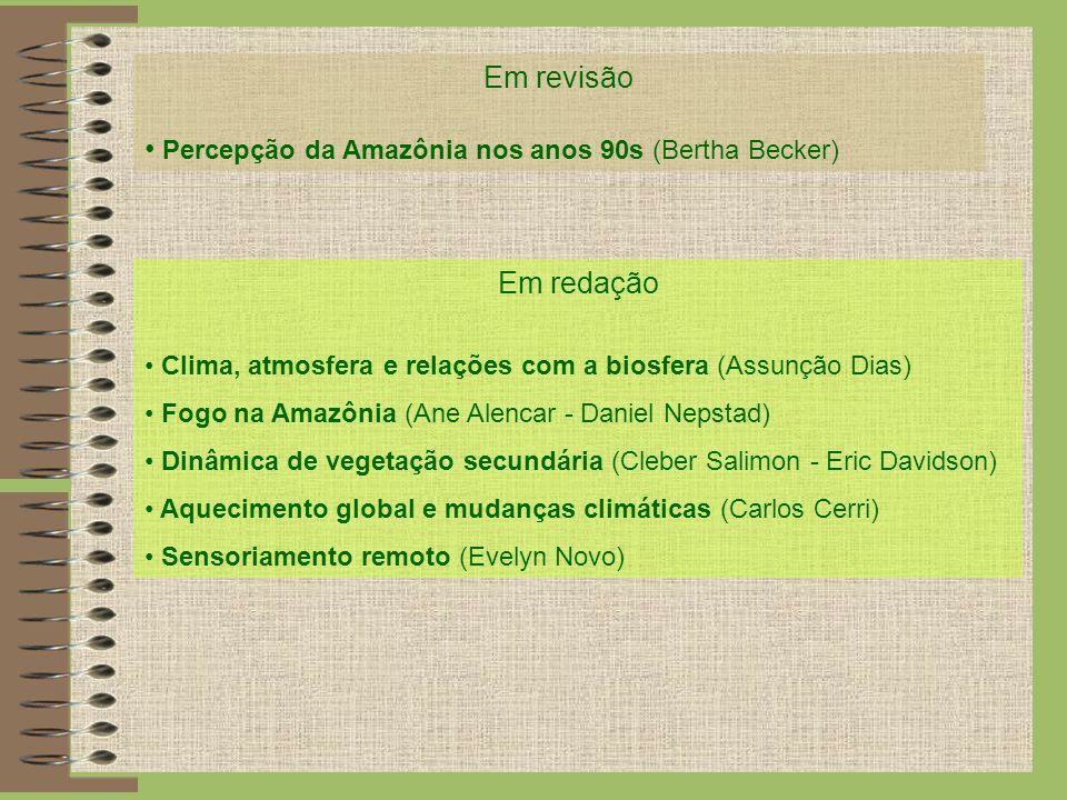 Em revisão Percepção da Amazônia nos anos 90s (Bertha Becker) Em redação Clima, atmosfera e relações com a biosfera (Assunção Dias) Fogo na Amazônia (