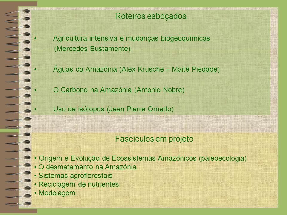 Roteiros esboçados Agricultura intensiva e mudanças biogeoquímicas (Mercedes Bustamente) Águas da Amazônia (Alex Krusche – Maitê Piedade) O Carbono na